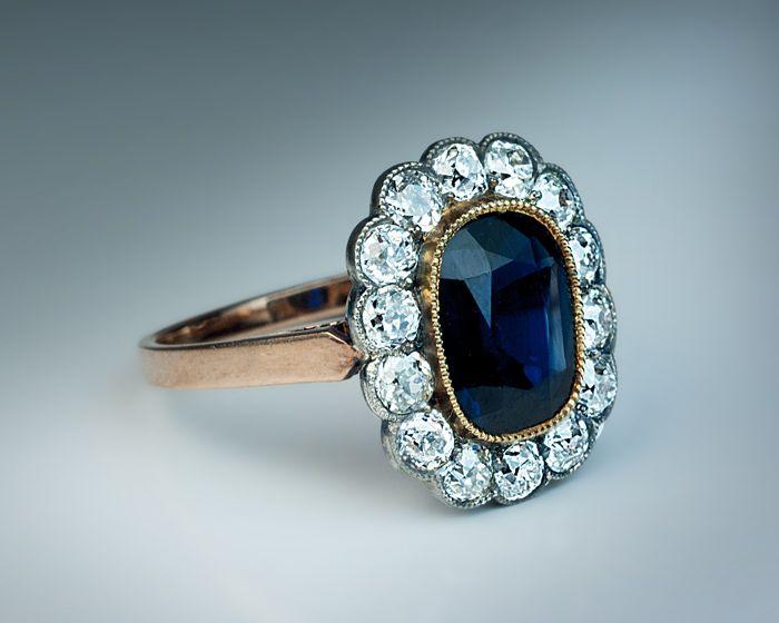 Details About Antique Russian Sapphire Diamond Cluster
