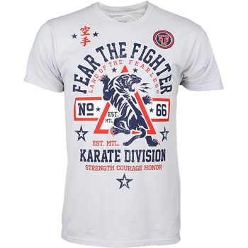 Fear The Fighter Karate Shirt Mmawarehouse Com Karate Shirts Mma Shirts Printed Shirts