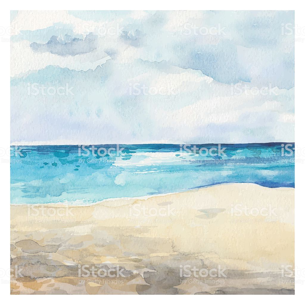 Watercolor Sea Background Hand Drawn Painting Summer Marine