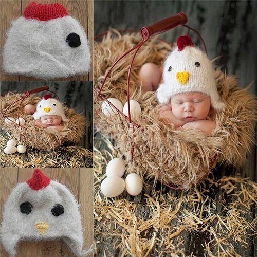 Baby Newborn Chicken Beanie Butt Cover Egg Knitted Crochet Photo Props