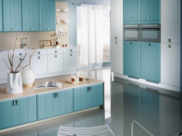 Cocina Color Celeste Y Haya Papel Tapiz De Cocina Interior De Cocina Decoracion De Cocina