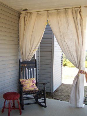 Drop Cloth Curtains For Your Porch   Love This Idea For The Porch That  Faces The Sun.