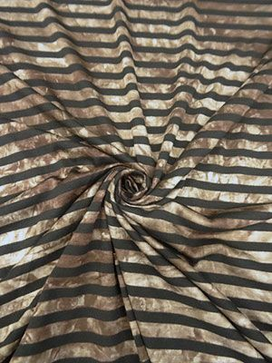Black/Shades of Brown Striped Tie-Dye Look Jersey Knit 58W