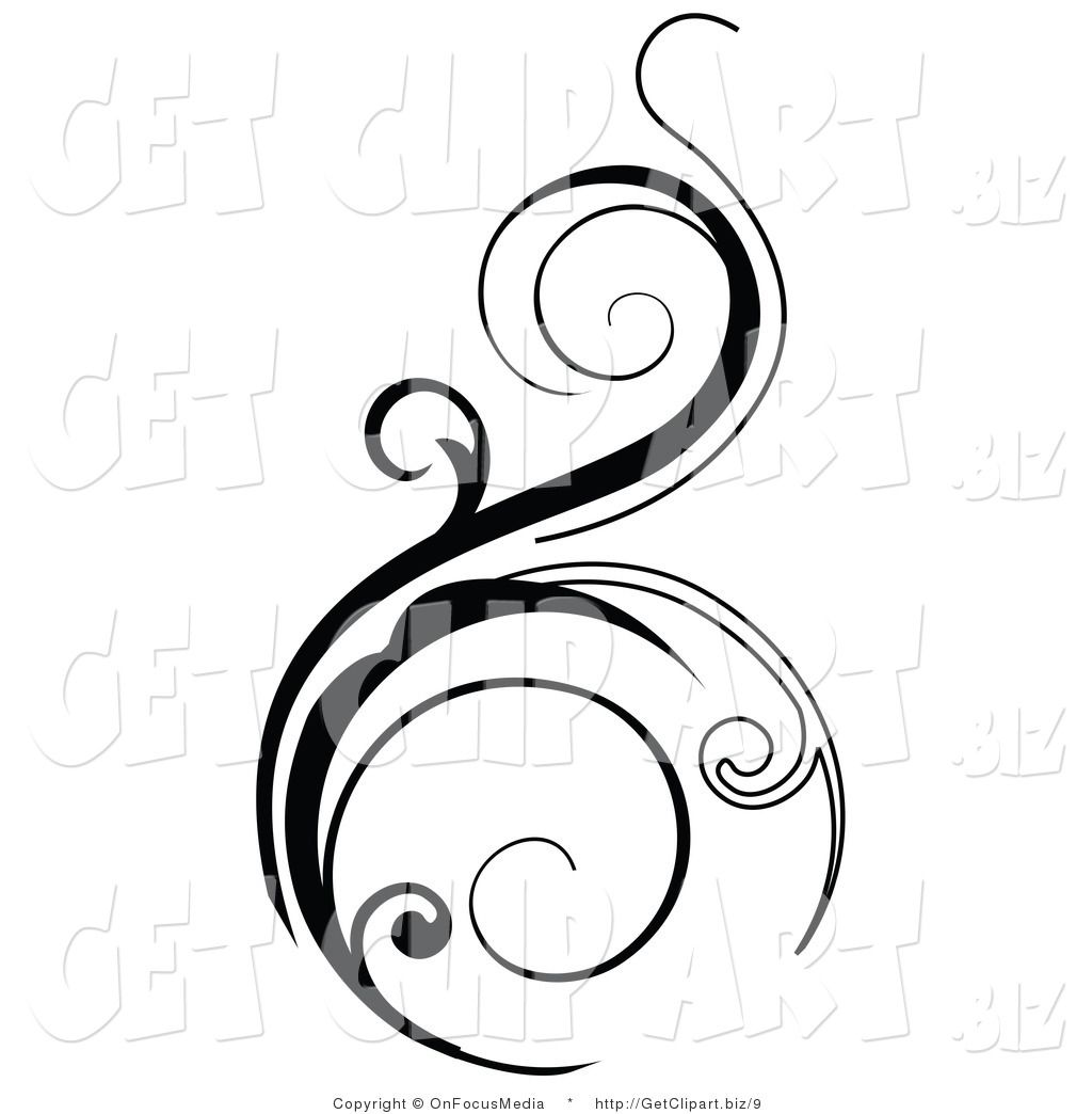 Vector Clip Art of a Black Vertical Scroll Design Element ...