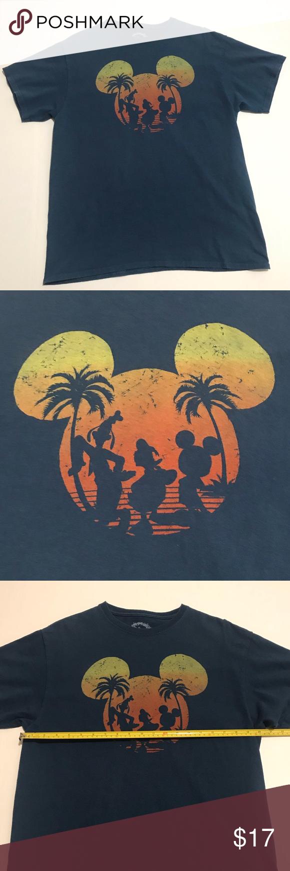 SOLD Disney sunset Mickey Mens shirt Blue size lg Shirts
