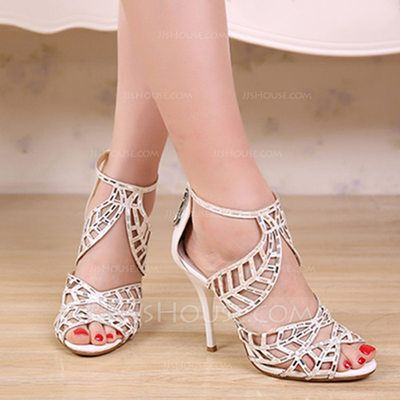 Women's Suede Stiletto Heel Peep Toe Sandals Beach Wedding Shoes With  Rhinestone Hollow-out (047123328)