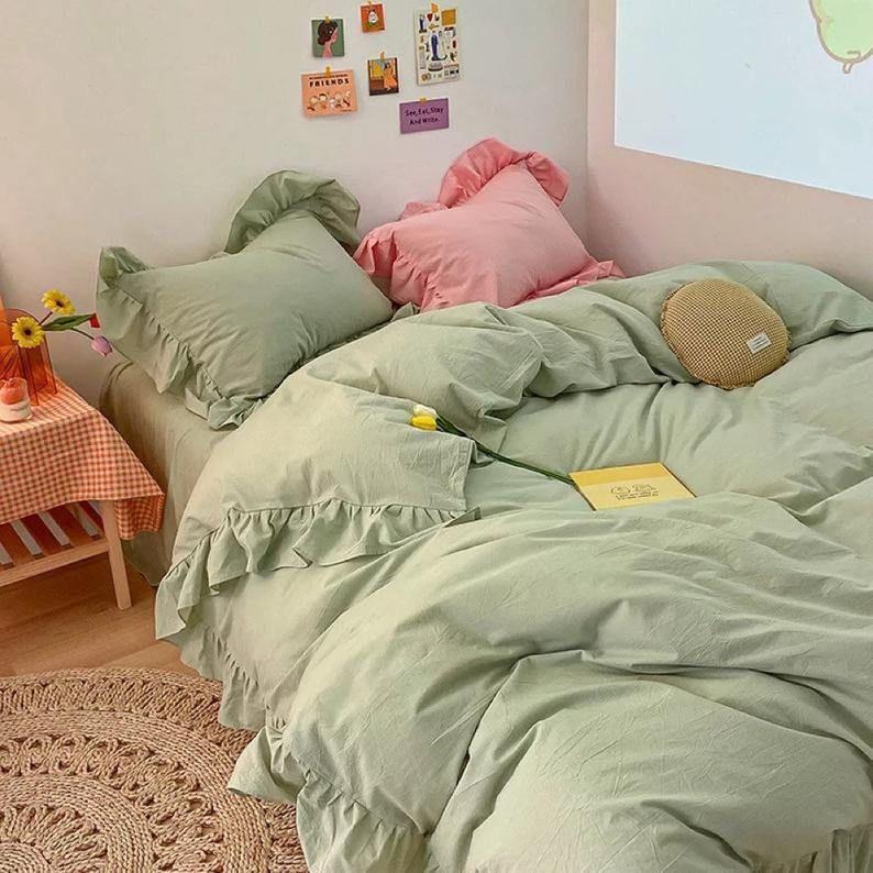 Ruffle Bedding Bundle - Green / Medium+ / Flat