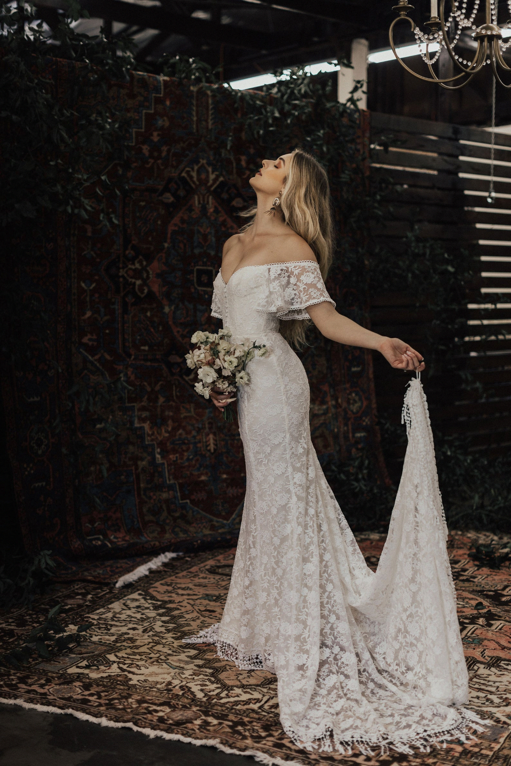 Callista Bohemian Wedding Dress. OFF SHOULDER lace boho wedding gown with FRINGE hem and buttons. Made to Measure in California. size 0-18 6
