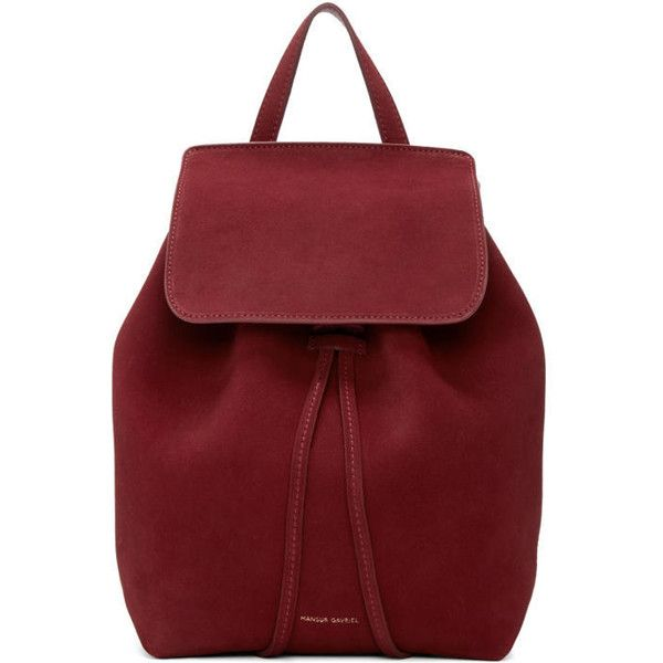 Mansur Gavriel Burgundy Suede Mini Backpack (393.895 CLP) ❤ liked on Polyvore featuring bags, backpacks, burgundy, studded backpack, mini backpack, mini drawstring bags, drawstring backpack and mansur gavriel