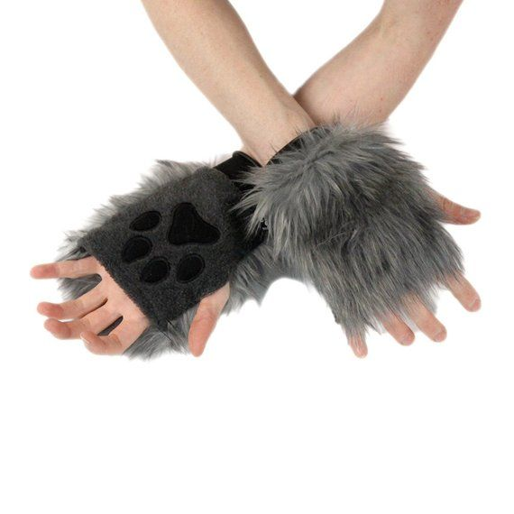 Pawstar Color Theme Pawlets - Paw Glove Hand Arm Warmers Cuff Furry Costume Accessory Pink Red Black