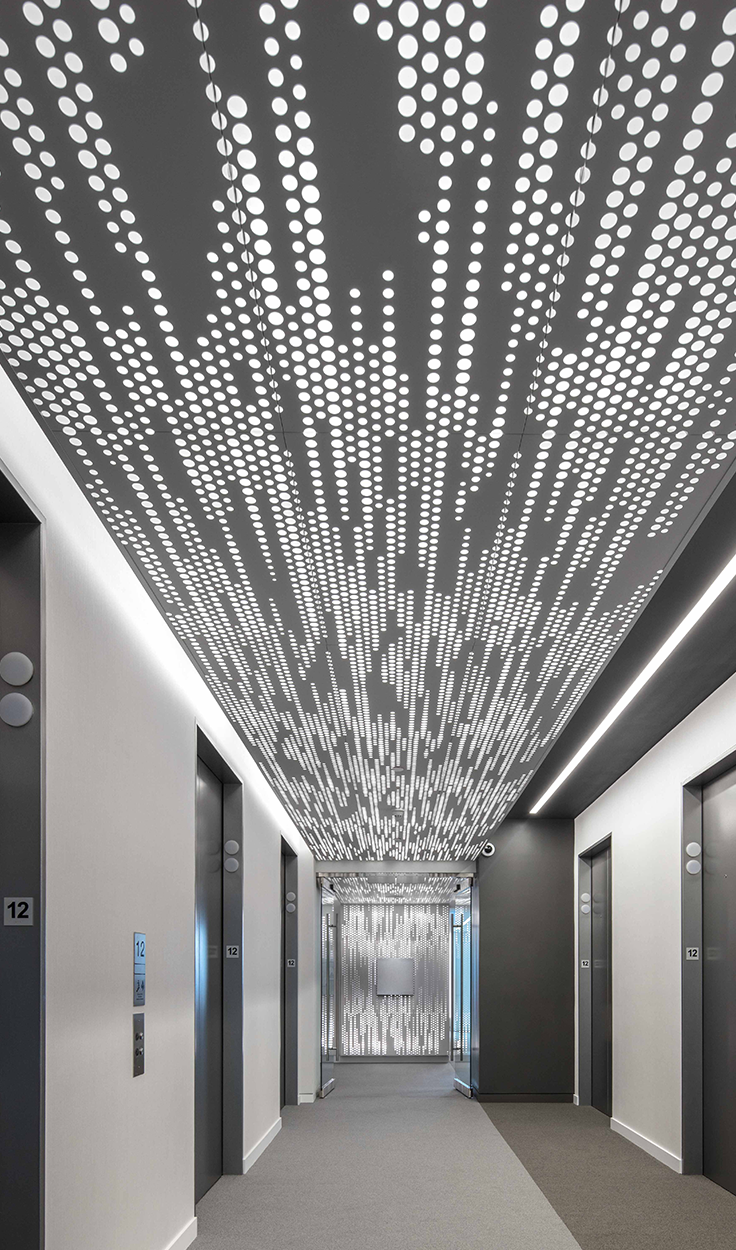 Arkturas vapor family of ceiling systems uses simple repeated panels to generate sophisticated seamlessly tilable patterns that can extend across both