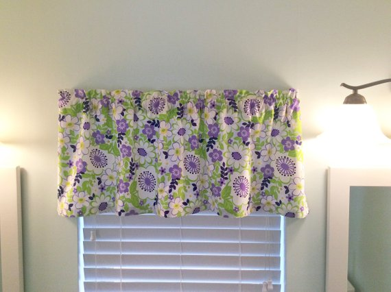 Purple and Lime Green Floral Valance in 2019 | Valance ...