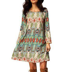 This is a cute abstract flowing dress.  The length of the sleeves look great witht he length of the dress.  EFINNY Women Bohemian Long Sleeve Slim Tunic Beach Dress