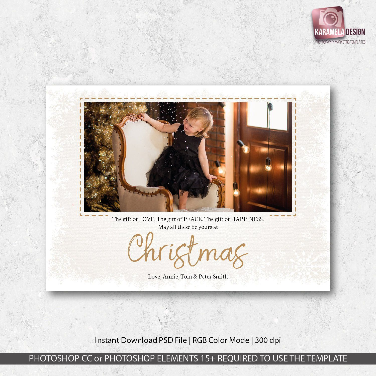 7x5 Printable Greeting Card Template Christmas Card With Photo Etsy Holiday Photo Cards Design Printable Greeting Cards Holiday Design Card