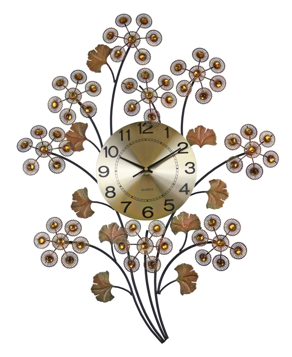 Three Star Flowers Wall Clock Copper (With images