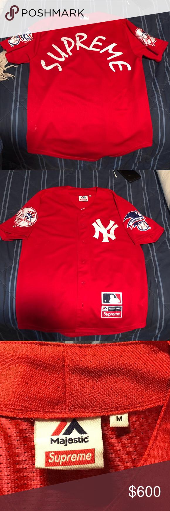 wholesale dealer d0db1 2b926 Supreme New York Yankee Jersey X Majestic Red M 100 ...