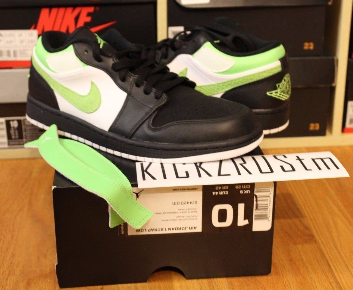 release date: 37211 a7a93 NEW NIKE AIR JORDAN 1 I STRAP LOW SHOES BLACK ELECTRIC GREEN WHITE MENS 10