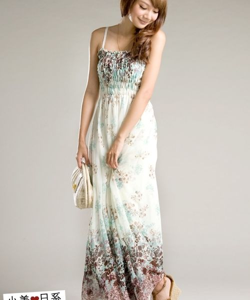 Straps Long Chiffon Dress