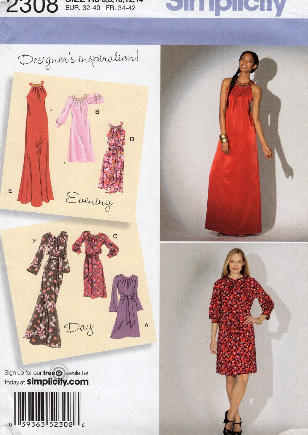 Simplicity 2308 Sewing Pattern Free Us Ship Day Evening Dress Uncut ...