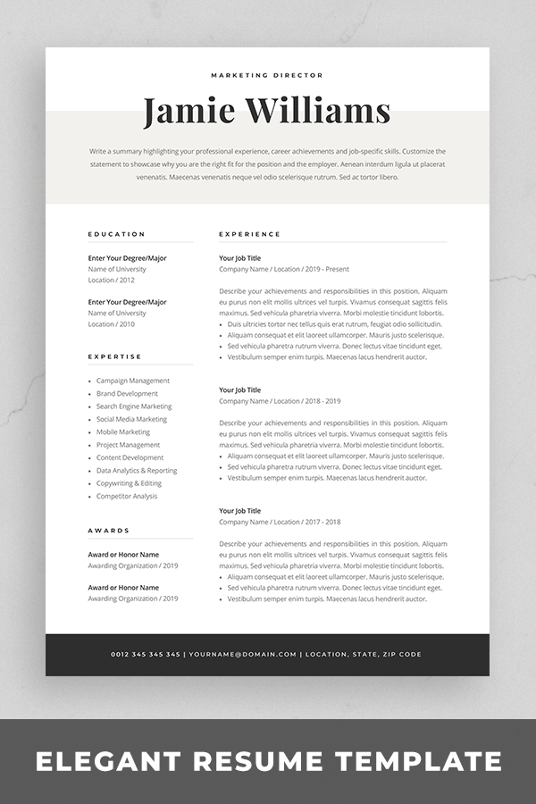 Modern Resume Template | Creative CV for Word | Elegant ...
