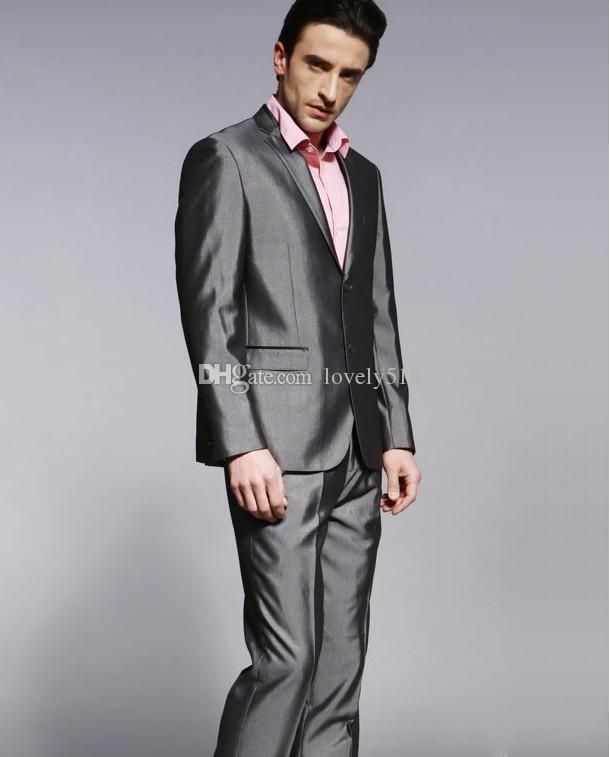 2015 New Style Groom Tuxedos Notch Lapel Best man Suit Shiny Grey ...