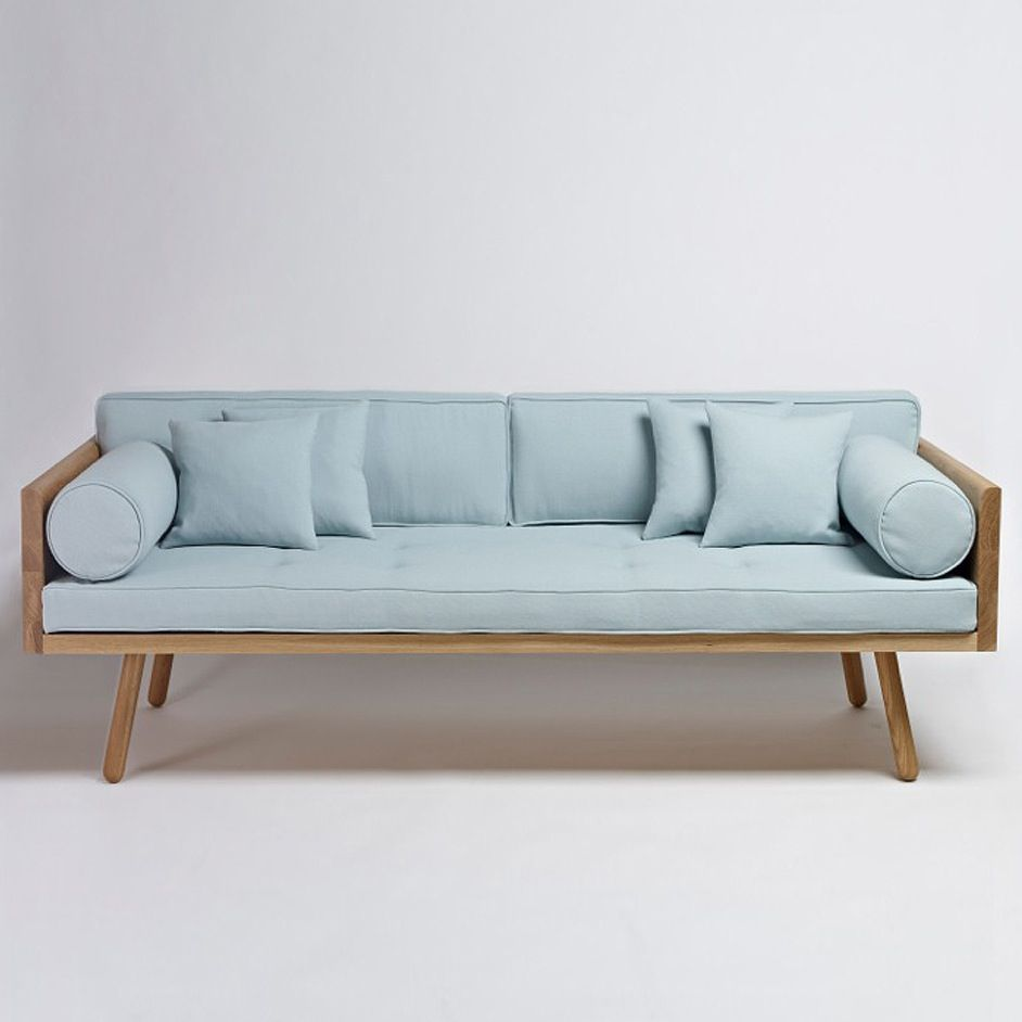 Beautiful pale blue mid century modern couch sofa for Mid century modern wood furniture