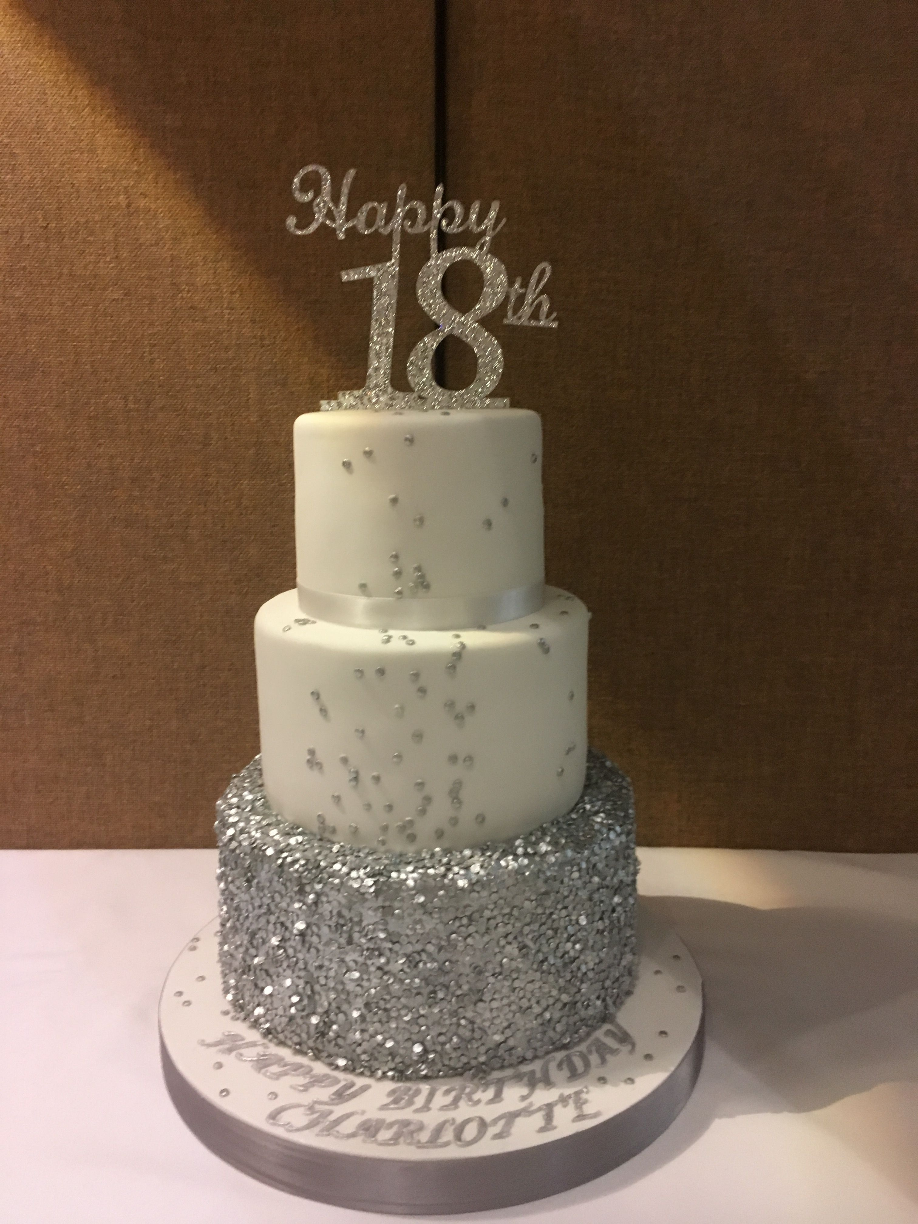 18th Birthday Cake With Silver Sequins And White Icing