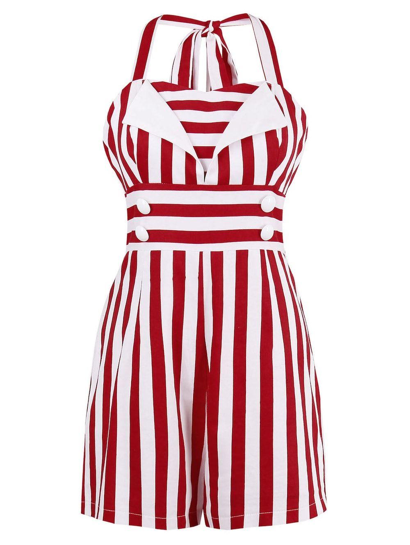 Stripe halter empire waist romper with button empire long sleeve
