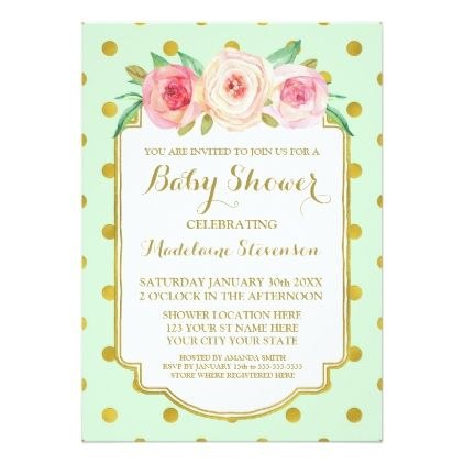 Mint gold dots watercolor floral baby shower card floral gifts mint gold dots watercolor floral baby shower card floral gifts flower negle Gallery