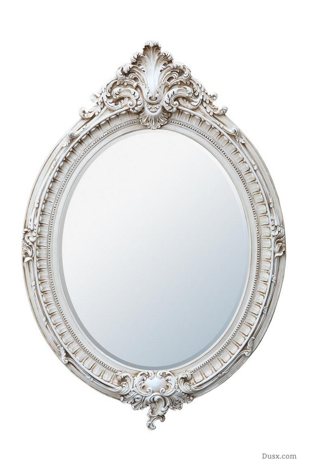 Dione French Rococo Antique White Oval Bevelled Mirror : For sale at ...