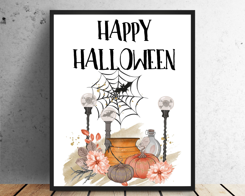 Halloween Decor Happy Halloween Sign Halloween Sign Pumpkin