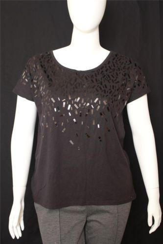 New Lane Bryant Black Embellished Scoop Neck Short Dolman Sleeves Size 14/16