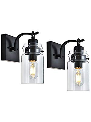 Photo of Cuaulans 2 Pack Glass Wall Sconces Lighting Fixture, Black Wall Sconce Clear Gla…