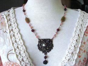 Art Nouveau Antiqued Brass Handmade Necklace $25.00