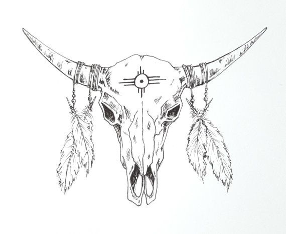 Tete De Mort Inspire Amerindien Par Moosecatstudio Sur Etsy Bull Skull Tattoos Cow Skull Tattoos Bull Tattoos