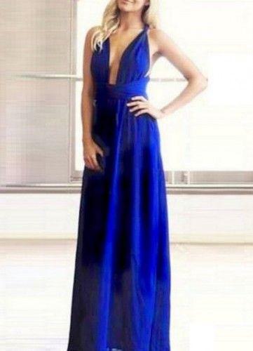 73e14fbfa51f SmeeshopsΠολυμορφικό maxi μπλε ηλεκτρίκ φόρεμα από ύφασμα βισκόζη. Μεγέθη    Small   Large Χρώμα