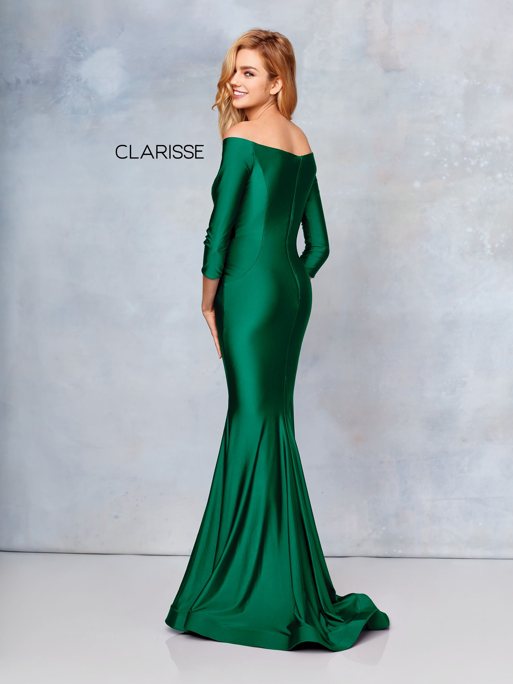 3841 Forest Green Silky Jersey Long Sleeve Fit To Flare Prom Dress