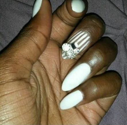 nails almond white stripes 25 ideas nails  white oval