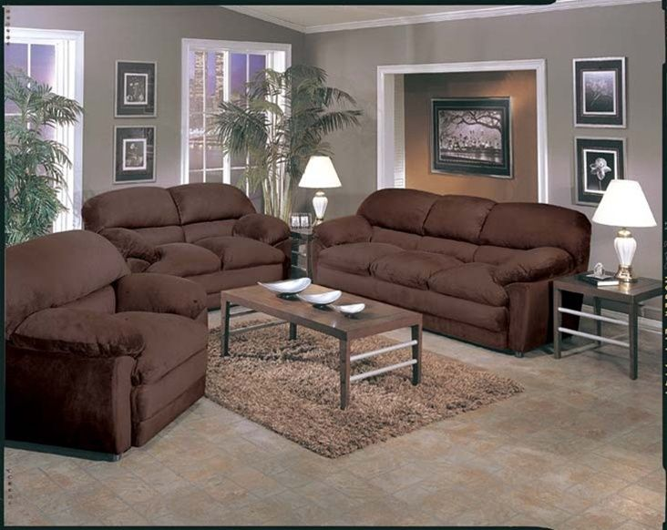 Microfiber Sofa Set Dark Brown Couch
