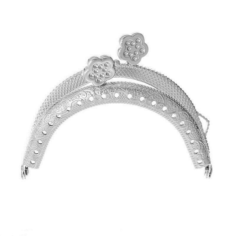 $19.99 (Buy here: http://appdeal.ru/58jw ) 10Pcs DIY Coin Purse Bag Arc Frame Kiss Clasp Metal Lock Flower Silver Tone Handbag Handle Making 7.5x6cm for just $19.99