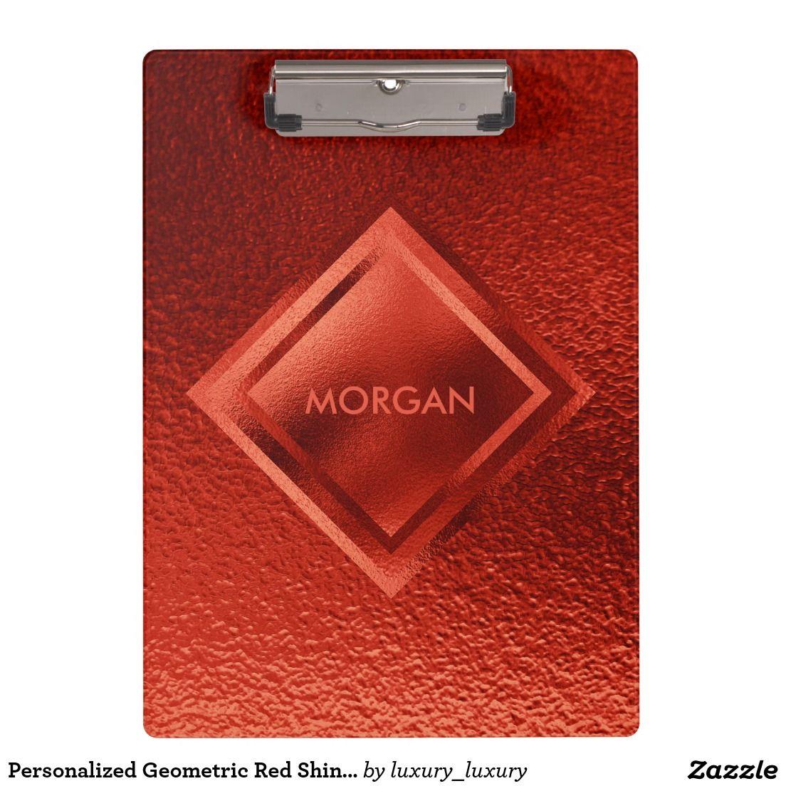 Personalized Geometric Red Shiny Metalic Clipboard
