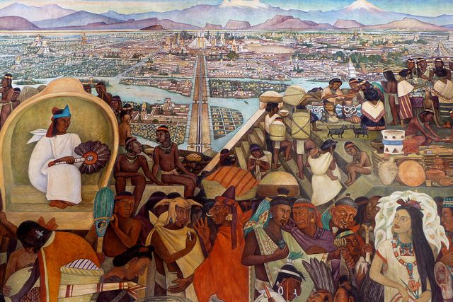 Diego rivera mural in the national palace mexico city for Aztec mural painting