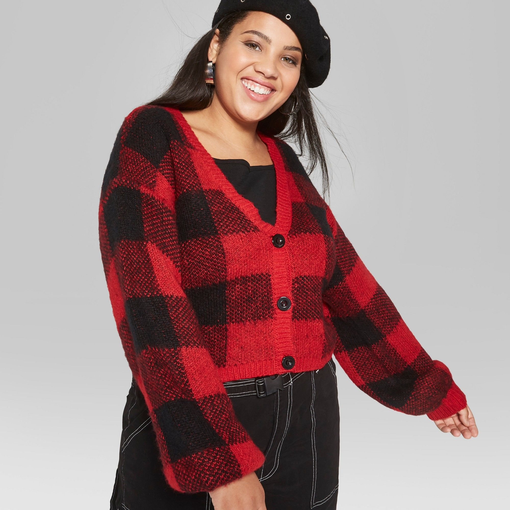 Plus size womens flannel shirt  Womenus Plus Size Plaid Cropped Button Cardigan  Wild Fable Red X