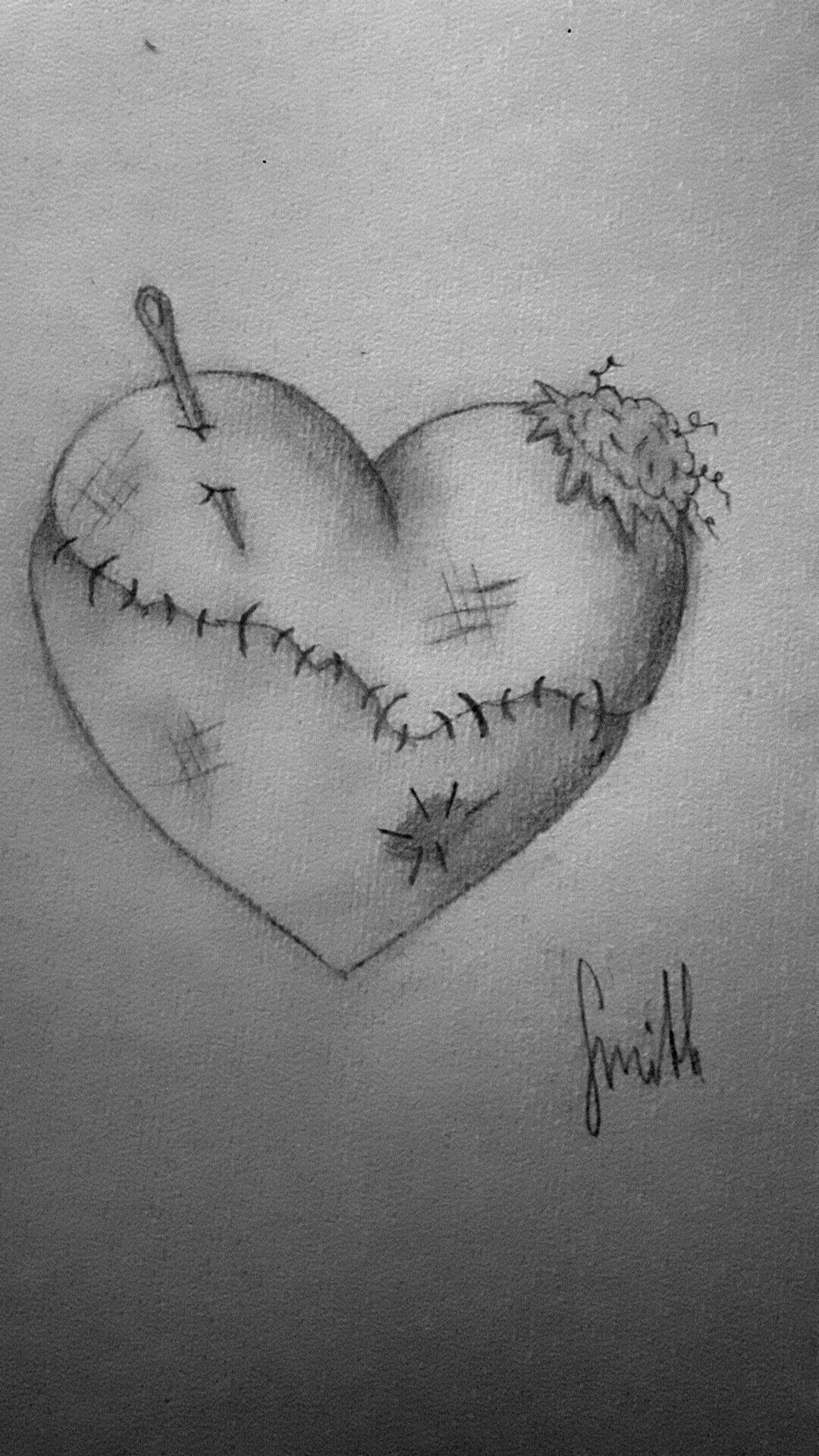 Broken heart brokenheart fixed pierced patch pieces fallingtopieces scratches cut drawing deep sad