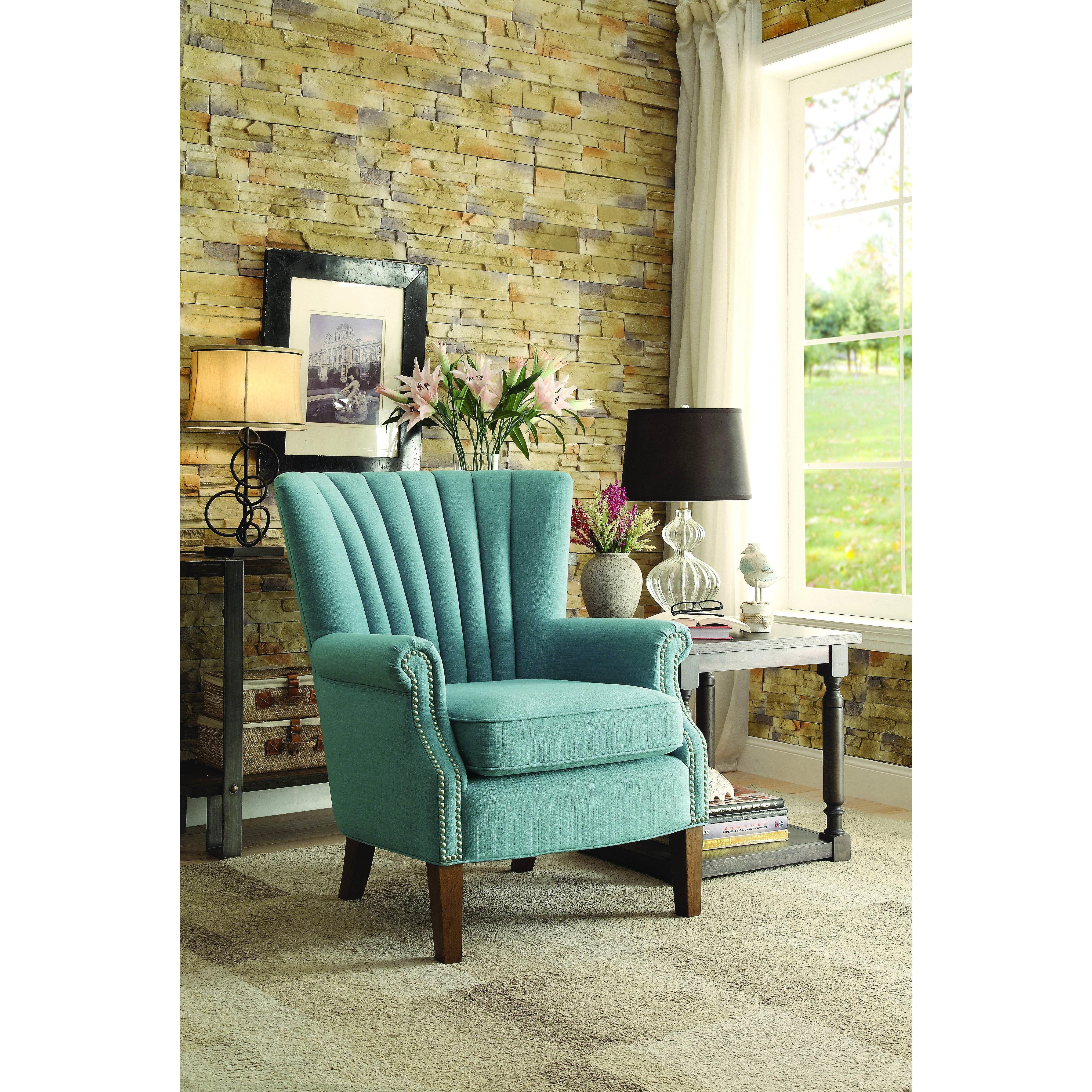 Alcott Hill Caesar Armchair Blue accent chairs, Accent