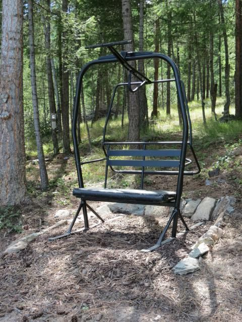 Re-purposed chair from the Pioneer Ski Lift at Kicking Horse Alpine Resort in Golden, BC. Now a lovely garden bench! Took my husband a while to get'er done, but it was well worth the wait!!