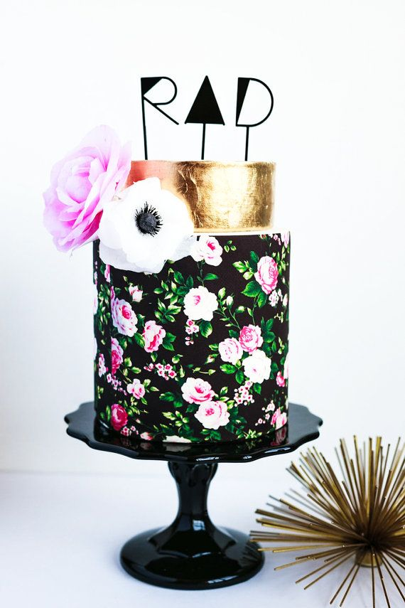 RAD Cake or Cupcake Topper, Laser Cut, Acrylic, Hipster, Modern, Geometric Wedding Cake, Gold, The Roc Shop, Cake by Hey There, Cupcake!