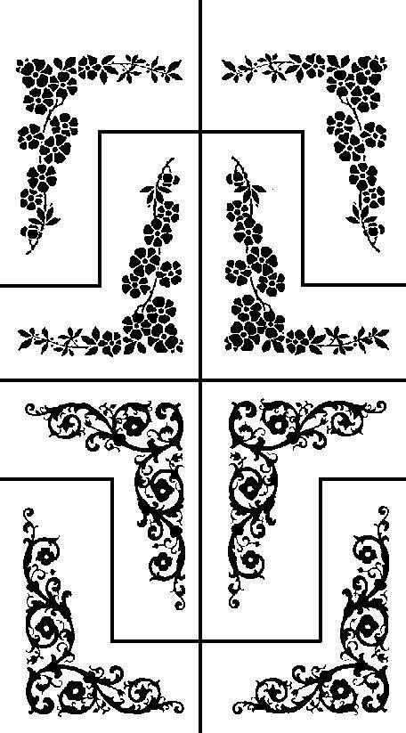 Armour Rub N Etch Glass Etching Stencil Flower Floral Corners Desenler Ahsap Yakma Ve Cizimler