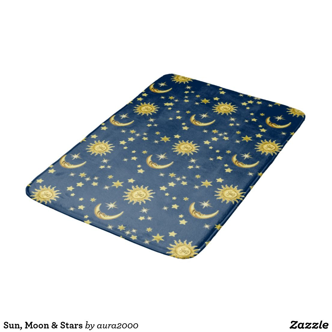 Sun Moon Stars Bathroom Mat Zazzle Com Stars Moon Mirror Wall Stickers Bathroom Accessories Sets