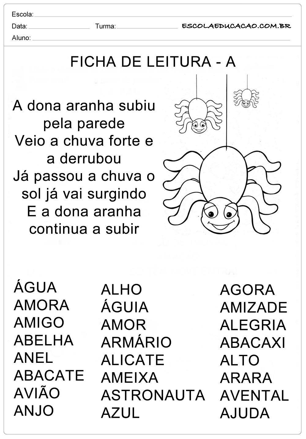 Ficha De Leitura Letra A Aranha Leitura Para Alfabetizacao